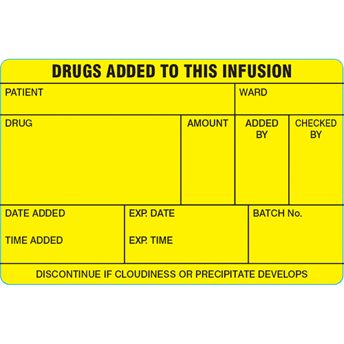'Infusion Bag Drugs Added' Labels
